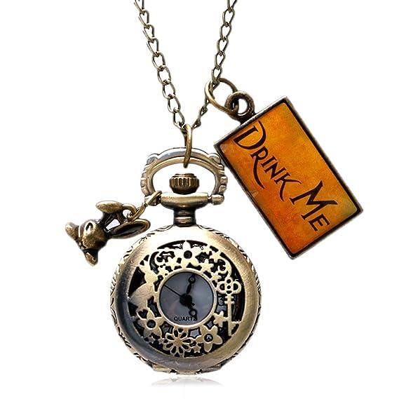 Alicia en el país de las maravillas Drink Me reloj de bolsillo collar colgante Conejo Flor Clave regalo: Amazon.es: Relojes