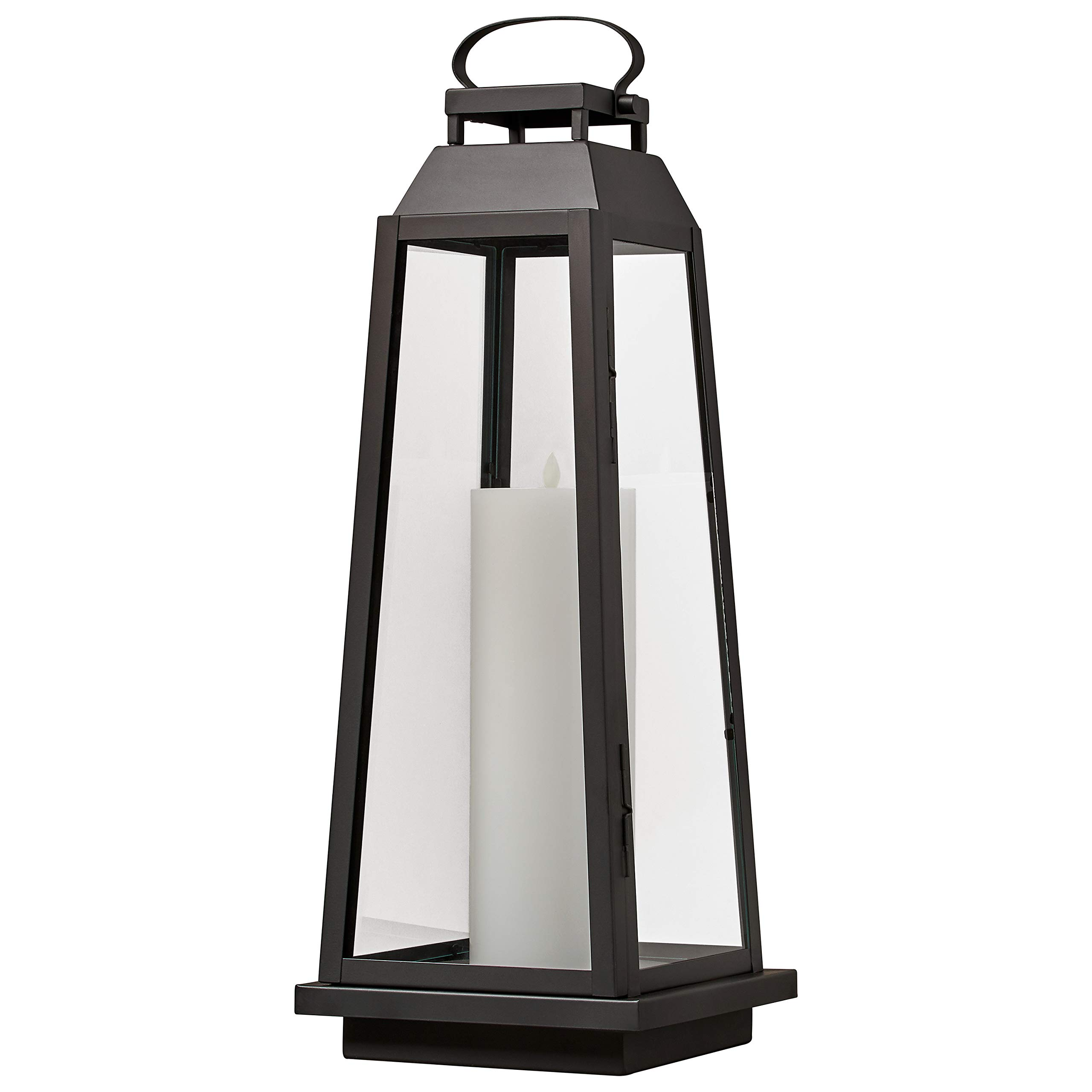 Stone & Beam Modern Traditional Decorative Metal and Glass Lantern with Candle, 25''H, Black, For Indoor Outdoor Use by Stone & Beam (Image #1)