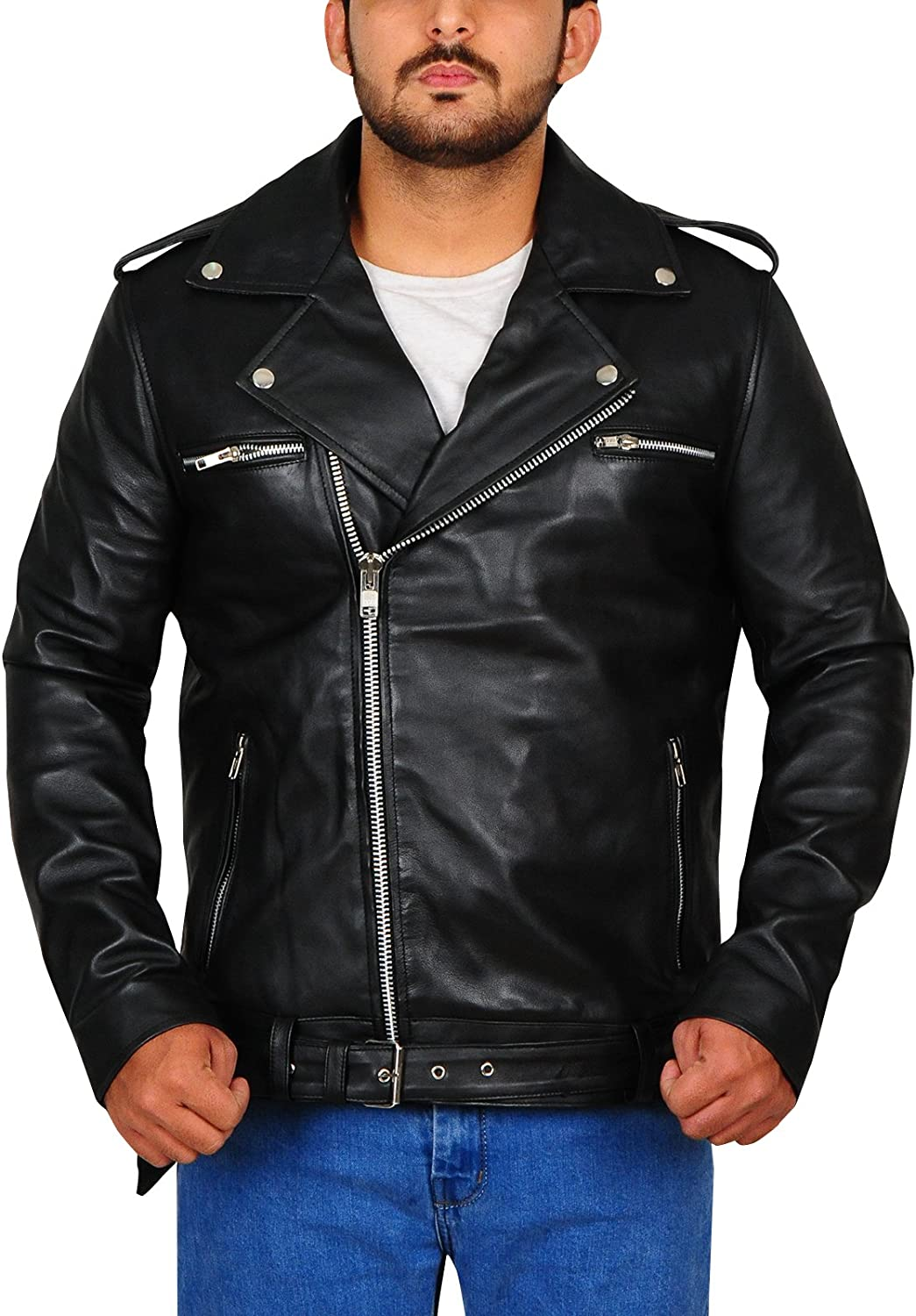 Mens Black Genuine Lambskin Leather Biker Brando Jacket