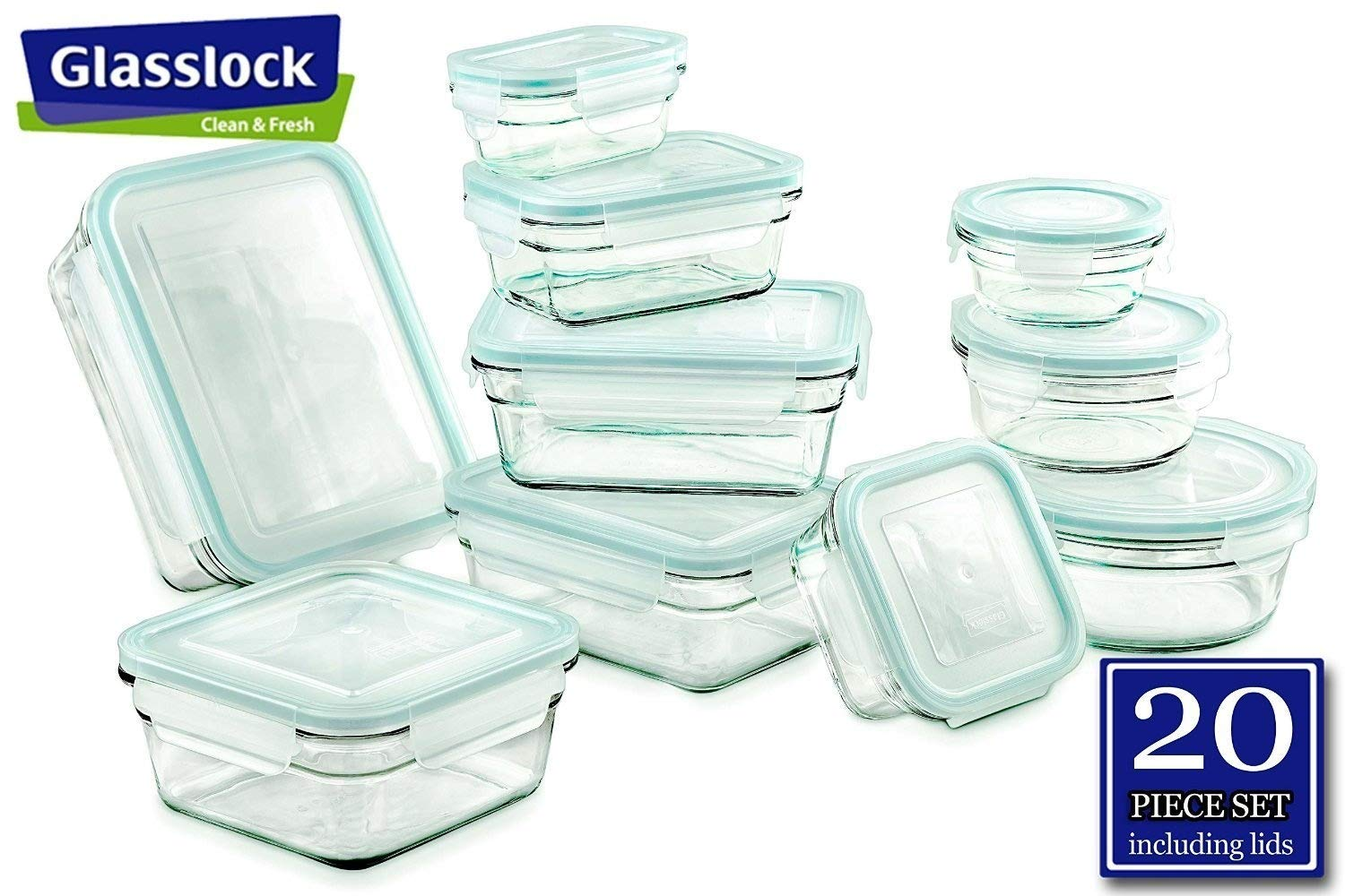 Glasslock Food Storage Glass Containers 20pc set R Anti-Spill Proof Airtight ~ Microwave & Oven Safe