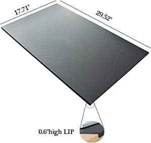 """No Smell 29.5""""x 17.7"""" with Full Lip Office Desk Pad Table Pad Blotter Protector Waterproof PU Surface Mouse Pad Desk Writing Mat (Black)"""