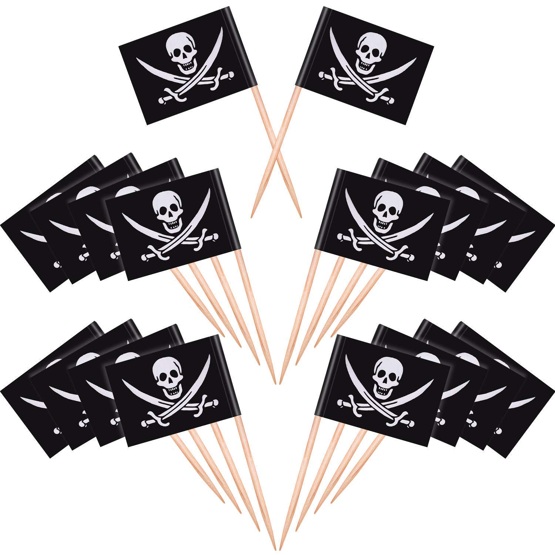 100pezzi di legno pirata bandiera USA e getta creative stuzzicadenti per torta cibo, antipasti, cocktail, decorazioni per torte e bambini Halloween decorazione per festa di compleanno wuudi