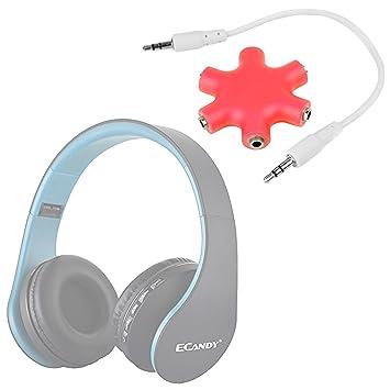 DURAGADGET Divisor De Auriculares Rojo para Auriculares Ecandy inalámbricos/ Sound Intone CX05 / Philips SHL3060BK