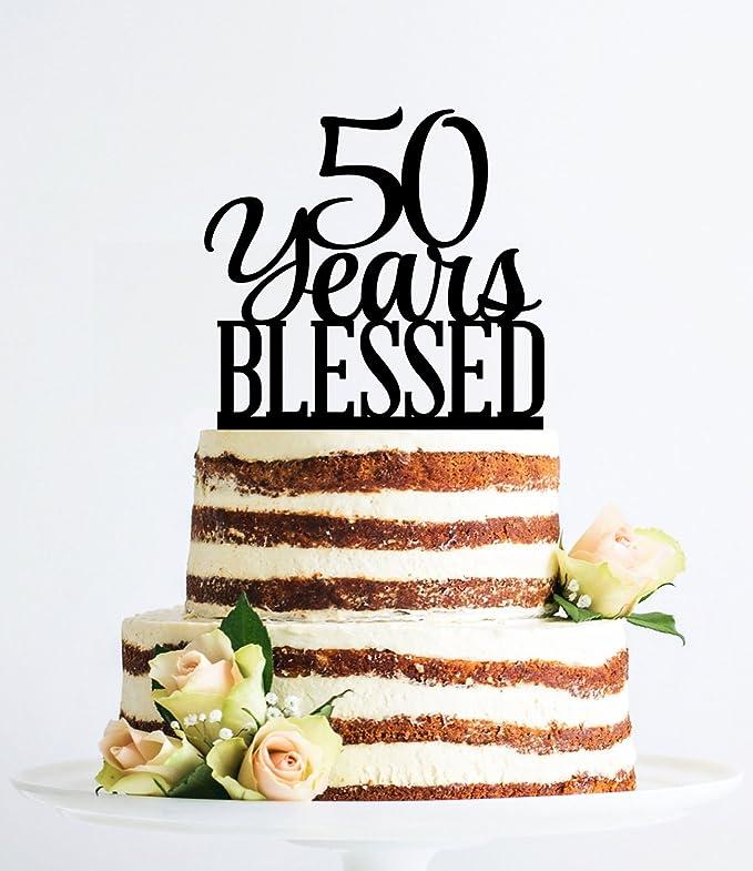 Amazon.com: 50 años Bendecido decoración para tarta para ...