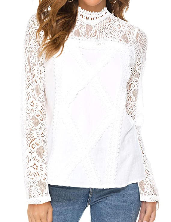 Victorian Blouses, Tops, Shirts, Sweaters ZXZY Women Cute Lace Blouse Top Short Sleeve Lace Hollow Out Turtle Neck T Shirt $18.99 AT vintagedancer.com