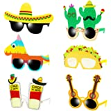 Ocean Line Fiesta Party Supplies Glasses - 6 Pairs Mexican Themed Costume Sunglasses, Cinco De Mayo Photo Booth Props for Tac