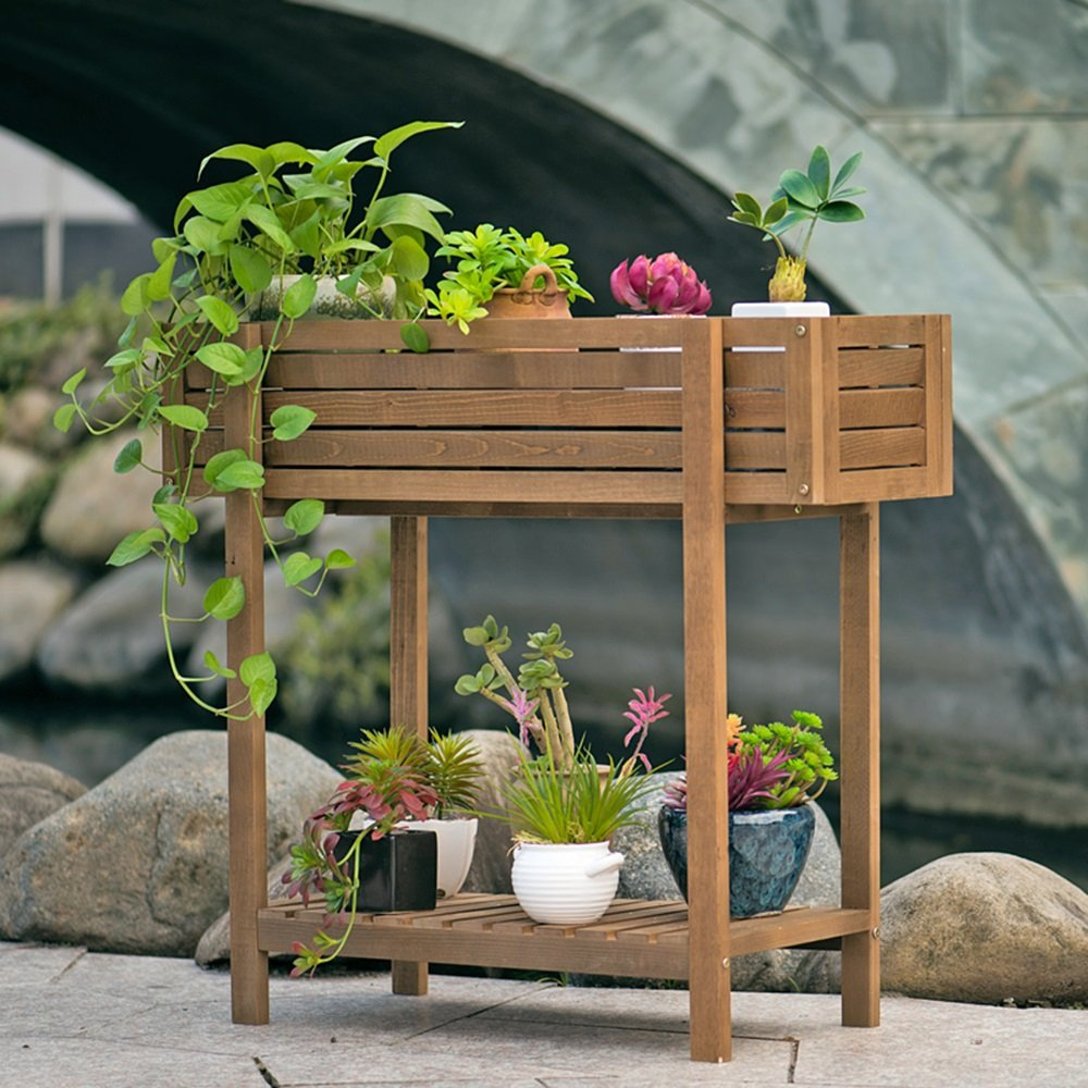LJHA huajia Flower Stand, Groove Type Type Solid Wood Floor-Standing Balcony Living Room Interior Wooden Flower Stand (Size : 72.26030.5CM) by GYH Flower stand