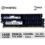 Timetec Hynix IC 16GB Kit (2x8GB) DDR3L 1600MHz PC3L-12800 Non ECC Unbuffered 1.35V/1.5V CL11 2Rx8 Dual Rank 240 Pin UDIMM Desktop Memory Ram Upgrade (16GB Kit (2x8GB))
