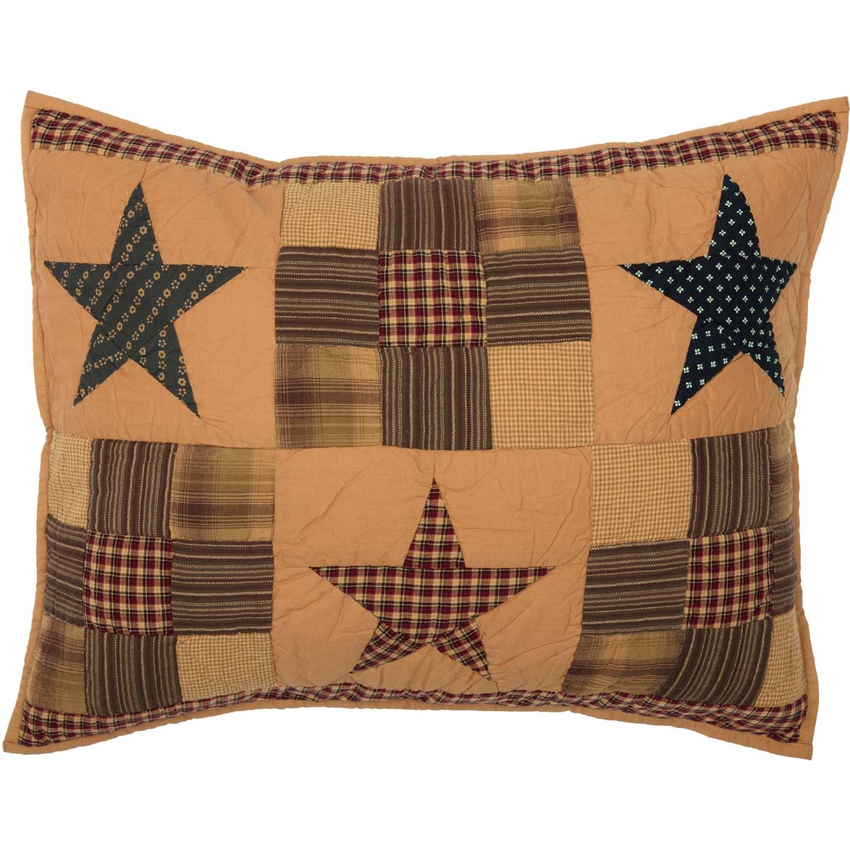VHC Brands Ninepatch Star King Patchwork Quilted Cotton Sham in Tan
