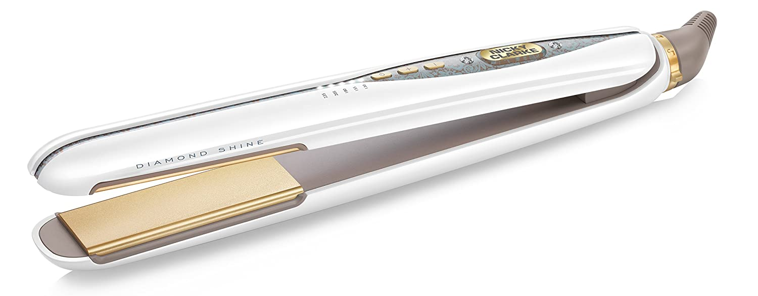 Nicky Clarke Diamond Shine Pro Salon Hair Straightener - High Gloss White with Gold Accents and Crystals Jarden Comsumer Solutions NSS194