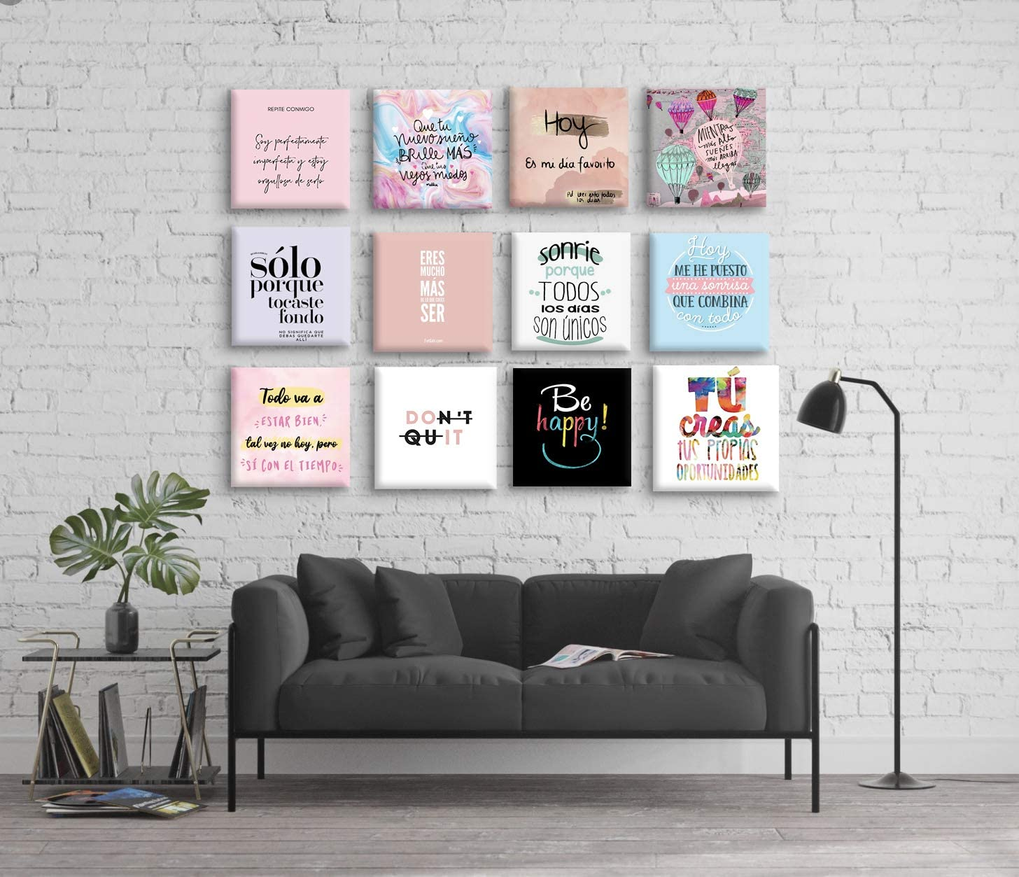 Set de 12 Cuadros Decorativos Frases motivadoras