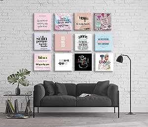 na Set de 12 Cuadros Decorativos Frases motivadoras