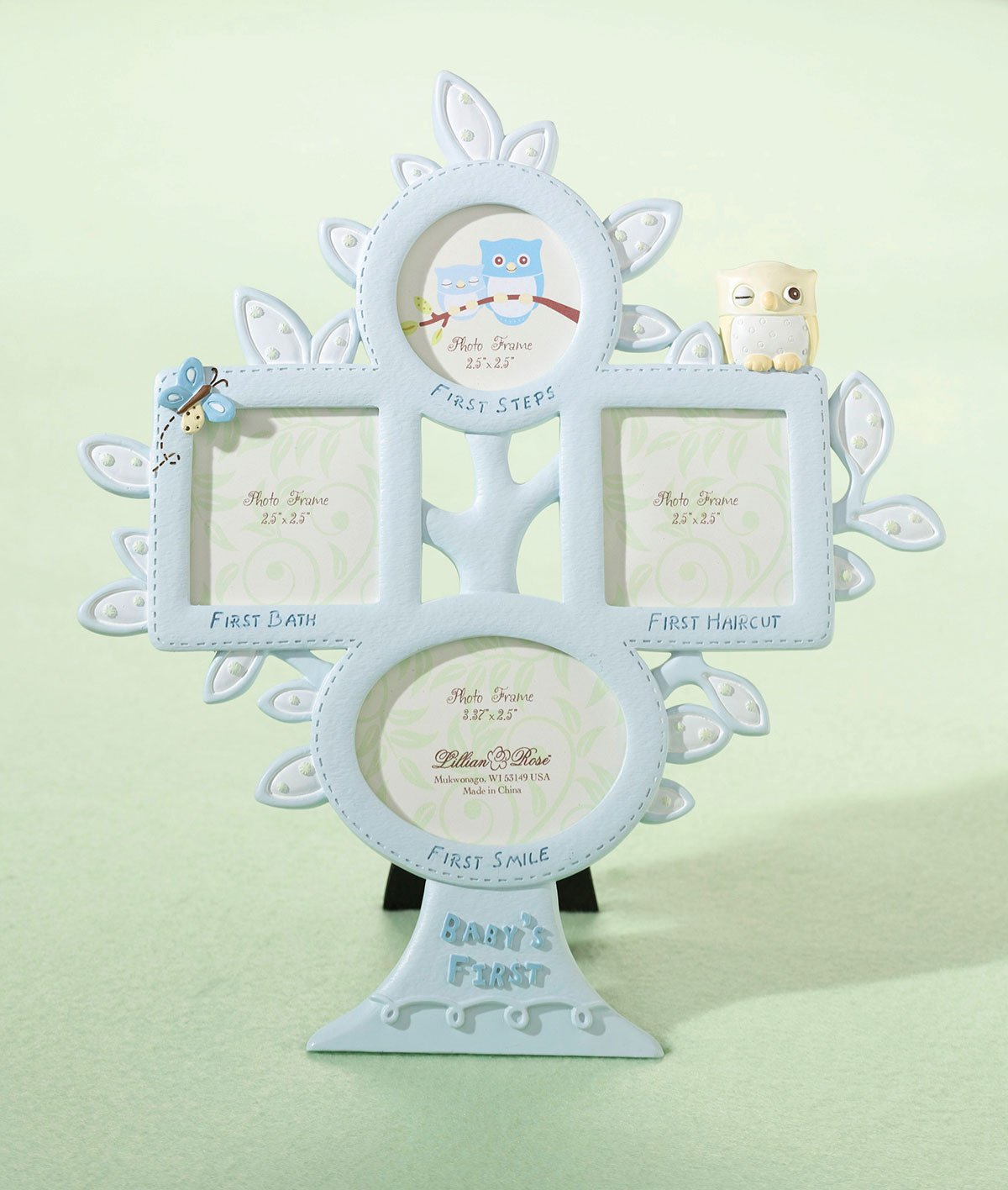 Lillian Rose 1st Year Picture Frame, Blue Owl, 10.5