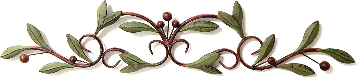 Bellaa 27390 Metal Wall Art Olive Tree Leaf Over Door Decor 30 Inch Long