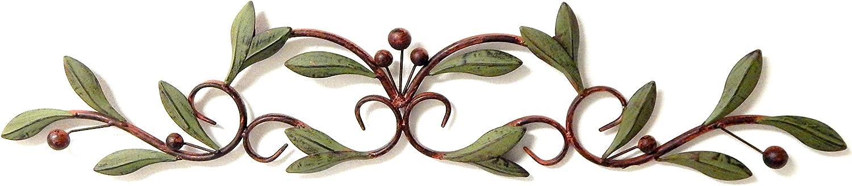 Bellaa 27390 Metal Wall Art Olive Tree Leaf Over Door Decor 30 Inch Long