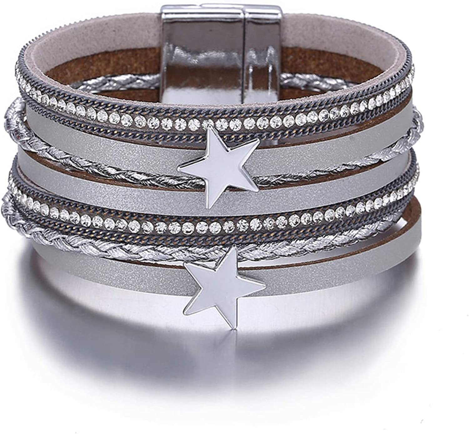 Daawqee Pulseras 3 Color Star Multiple Layers Bracelets For Women Vintage Magnetic Wrap Bracelets Charms Jewelry Femme