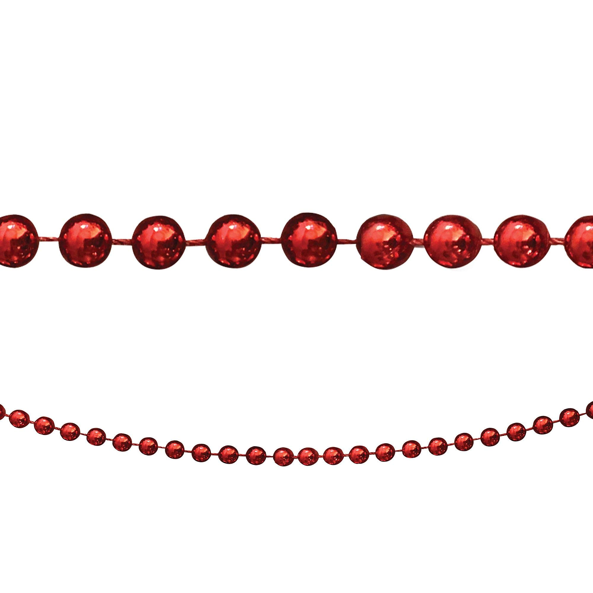 Country Silk Red Bead Garland, Christmas Decorations, 8' L