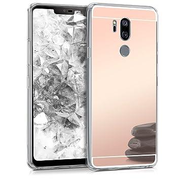 kwmobile Funda para LG G7 ThinQ/Fit/One - Carcasa Protectora Trasera de TPU para móvil en Oro Rosa con Efecto Espejo