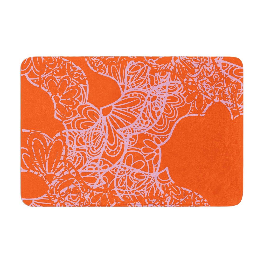 Kess InHouse Patternmuse Mandala Pumpkin Orange Pink Memory Foam Bath Mat 17 by 24