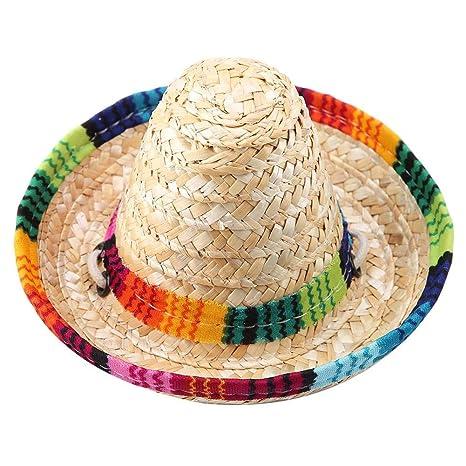 Pssopp Sombrero para Mascotas Mini Paja Sombrero de Fiesta ...