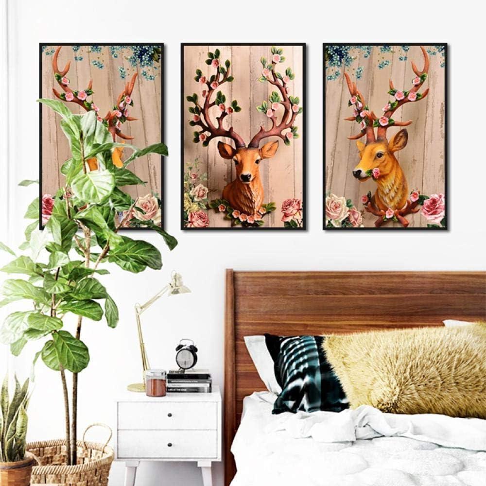 None brand Cerf for/êt Coucher de Soleil Nature Paysage Art Peinture Toile Affiche Mur d/écor /à la maison-60x90cm sans Cadre
