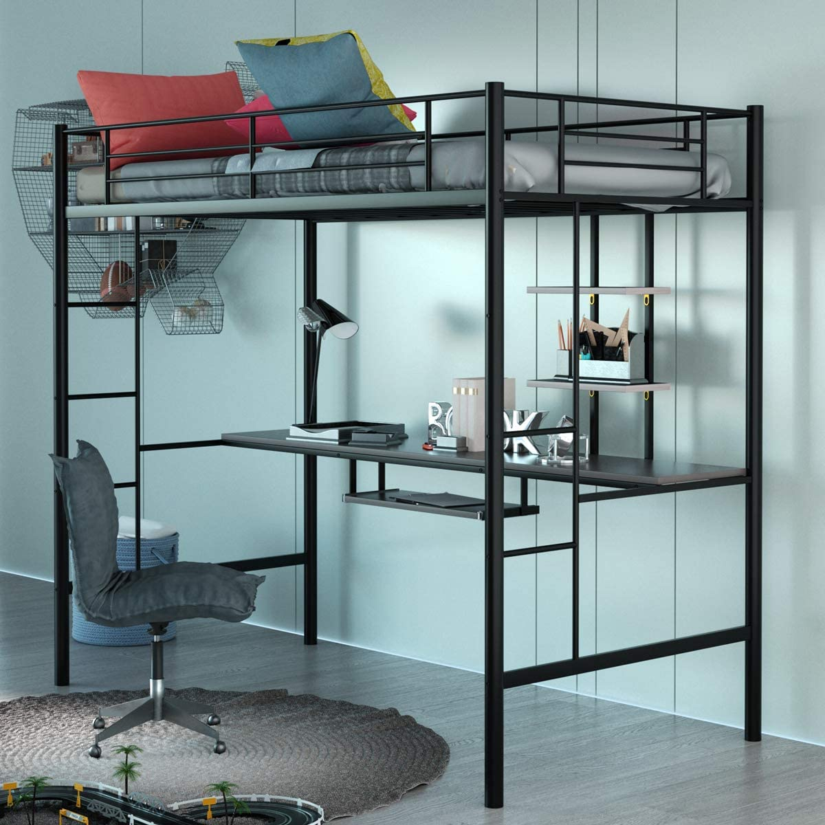 Giantex Metal Loft Bed Frame, Twin Size Bunk Bed with Bilateral Ladders, Guardrails, Desk and Bookcase, Space-Saving Loft Bed with Keyboard Tray for Boys & Girls Teens (Twin, Black)