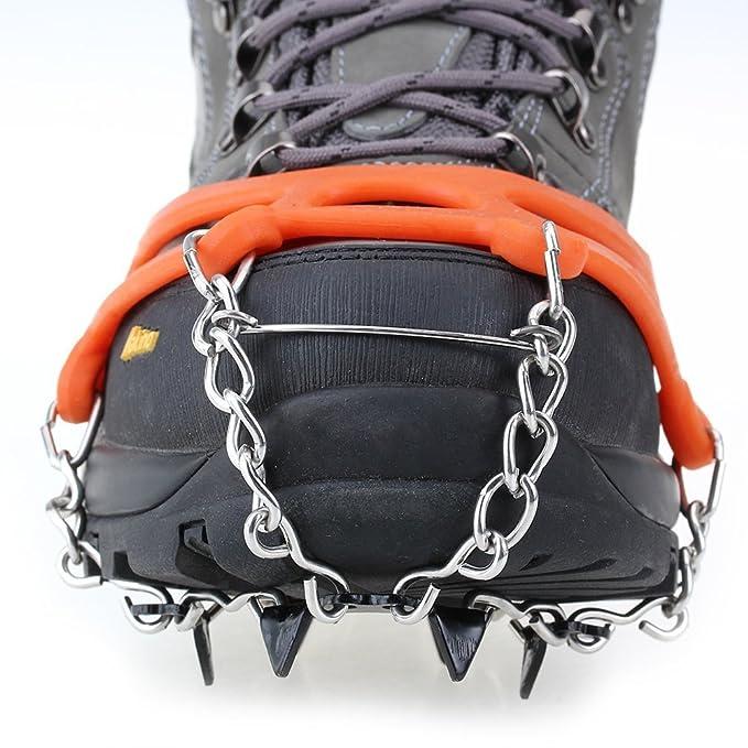 ICE TRACTION CRAMPONS Par de zapatos de Hielo Tacos Crampon Bota de la nieve de Spike Tacos Cadena antideslizante, de color amarillo: Amazon.es: Deportes y ...