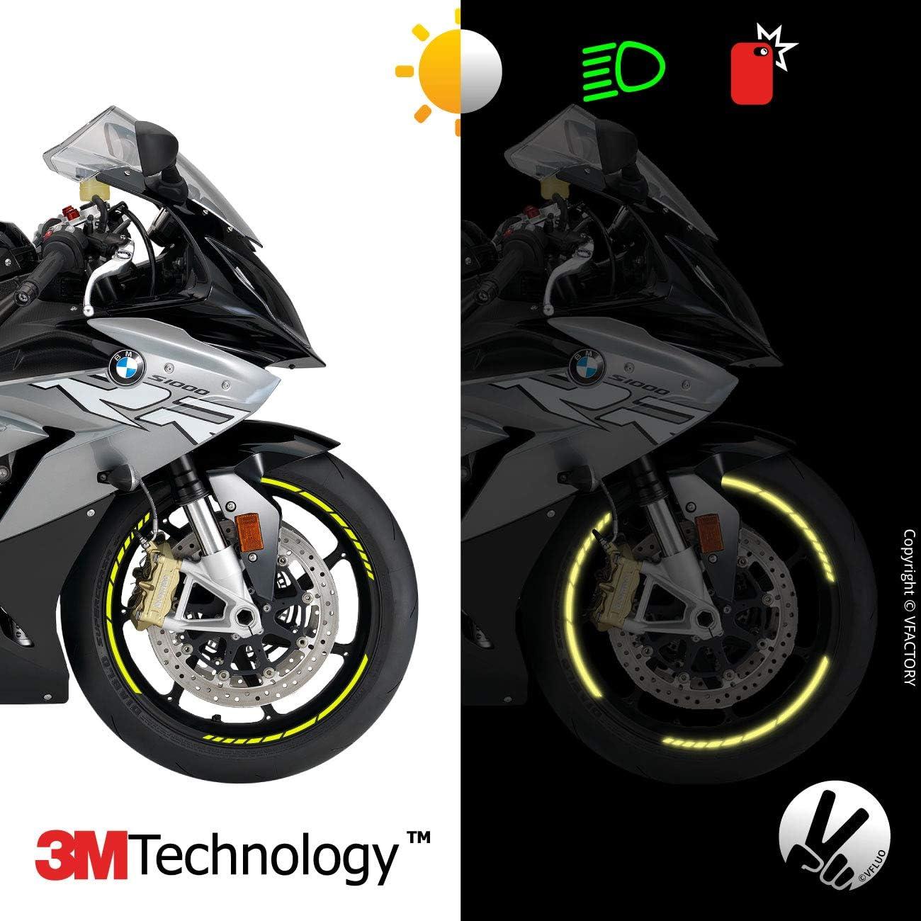 7mm breit Schwarz Motorrad Retro reflektierende Felgenrandaufkleber Kit 3M Technology/™ 1 Felge VFLUO GP Design/™