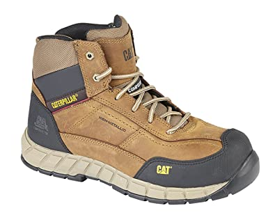Super discount official price durable modeling Caterpillar Mens CAT Leather Work Boots Non Metal with Composite Toe &  Midsole Protection Ankle Boots