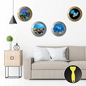 4PCS 3D Ocean World Wall Stickers, ZOXILEN 3D Removable Porthole Dolphins Jellyfish Fish Coral Wall Decor with Plastic Spatula for Kids Nursery Bedroom Living Room Decoration