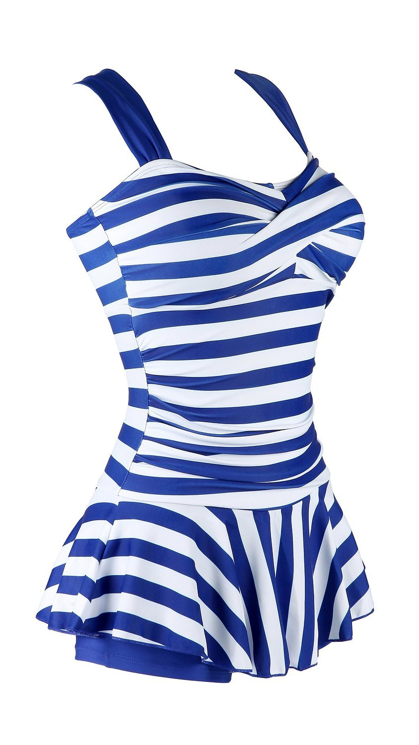 MiYang Women's One Piece Striped Slim Swim Dress Bathing Swimwear