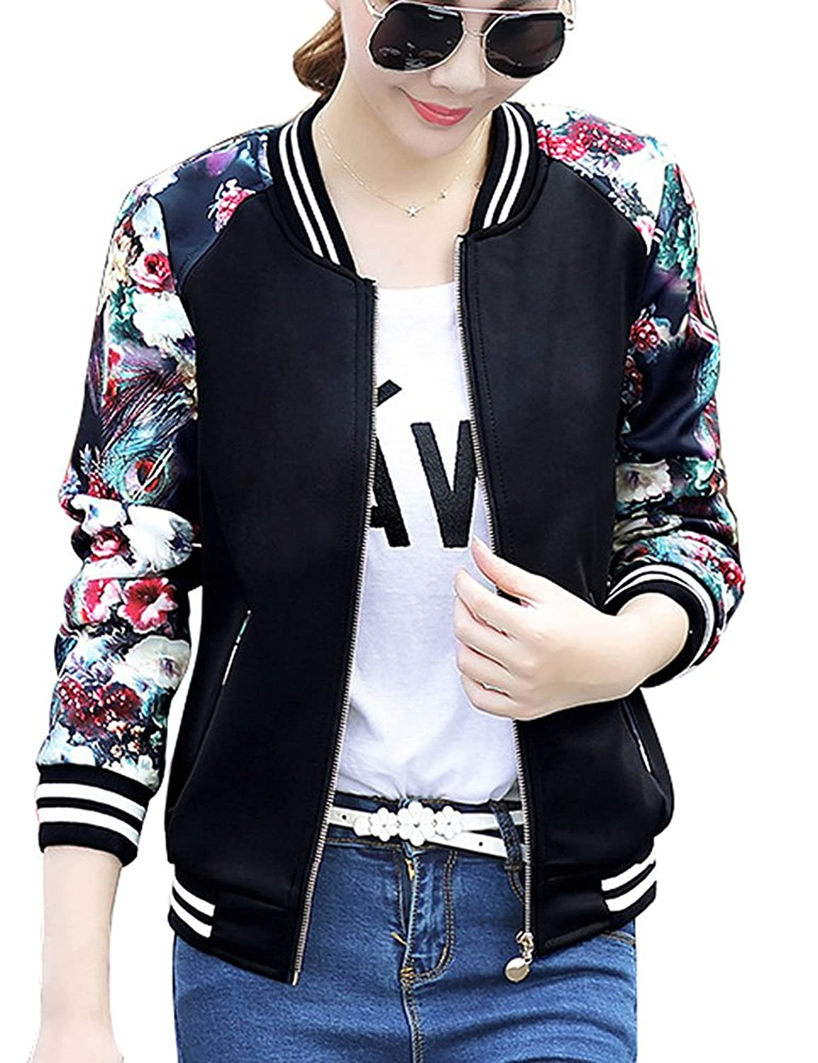 Wholesale FV RELAY Women's Slim Fit Floral Print Baseball Bomber Jacket Casual Coat Outwear for cheap
