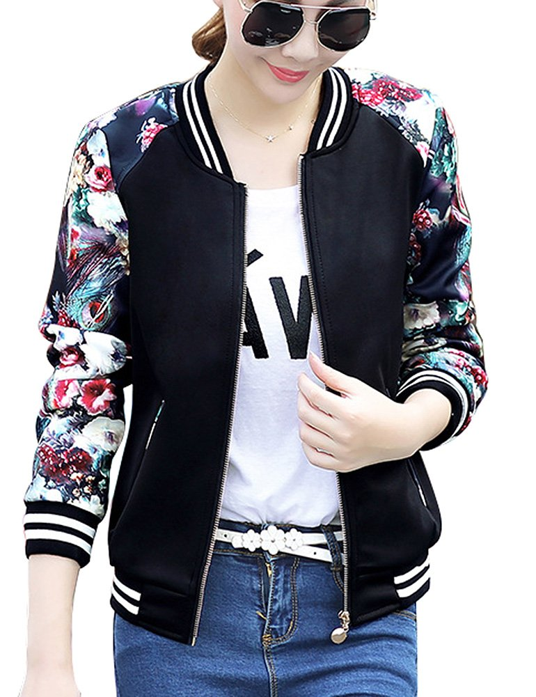 FV RELAY Women's Slim Fit Floral Print Baseball Bomber Jacket Casual Coat Outwear (L, Black)