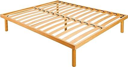 Goldflex - Somier de láminas en madera de haya natural, con 4 patas de madera maciza, diferentes alturas y acabados (25-30-35-40 cm)