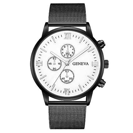 Reloj de cuarzo analógico retro para hombre, QinMM reloj de pulsera de malla de acero inoxidable (M): Amazon.es: Relojes
