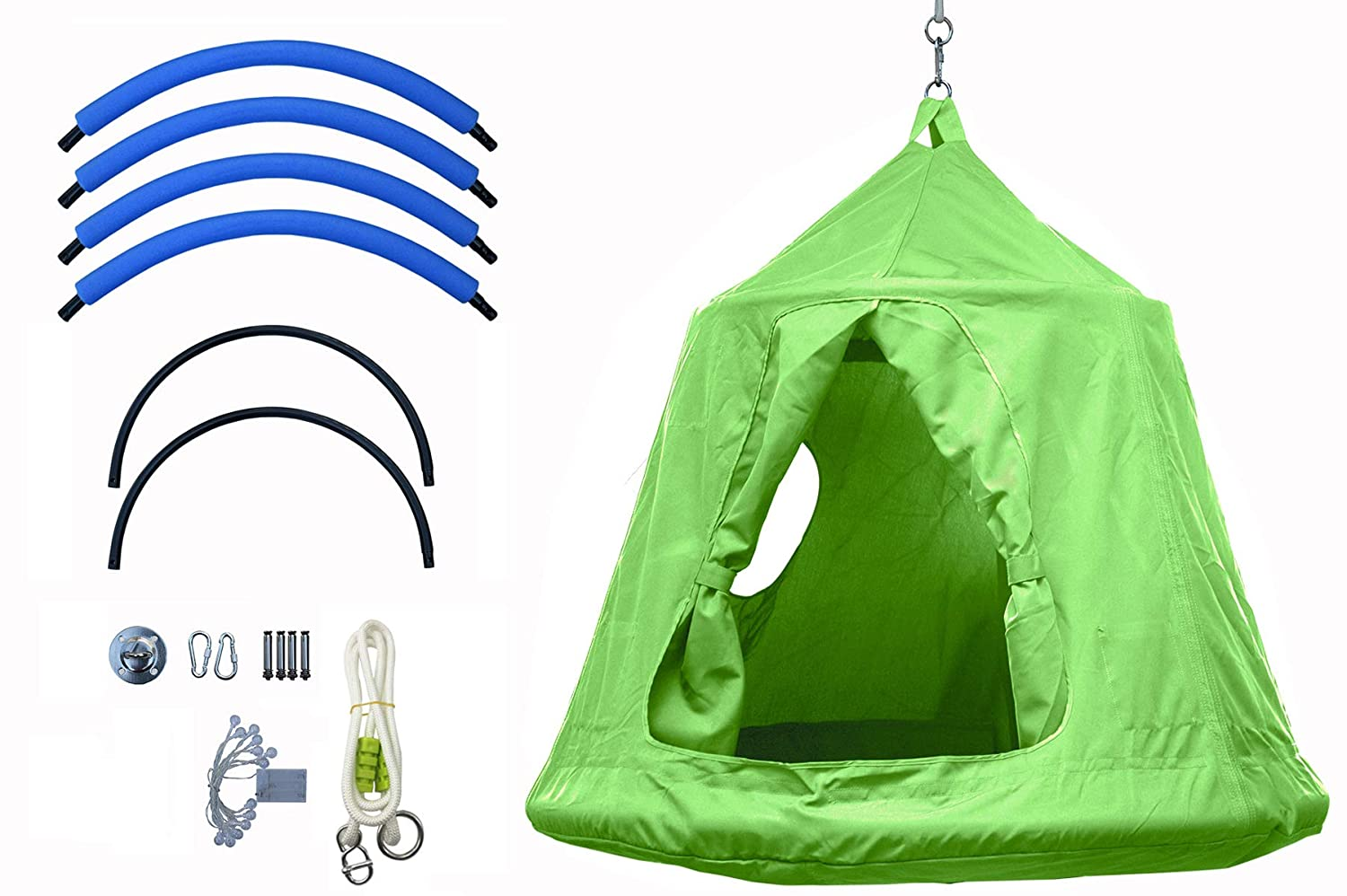 Outdoor Waterproof Backyard Play Center Hanging Tree House Camping Hammock Tent Indoor bedroom Swing Chair with Lamp string for Accommodating 2 Children – Green