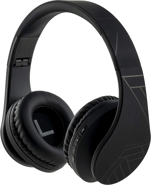 PowerLocus P2 - Auriculares Bluetooth inalambricos de Diadema Cascos Plegables, Casco Bluetooth con Sonido Estéreo Micro SD/TF, FM con micrófono y Audio Cable para Movil, PC, Tablet - Negro