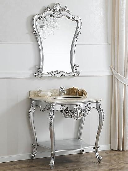 Consolle lavabo e specchio stile Barocco Moderno foglia argento ...
