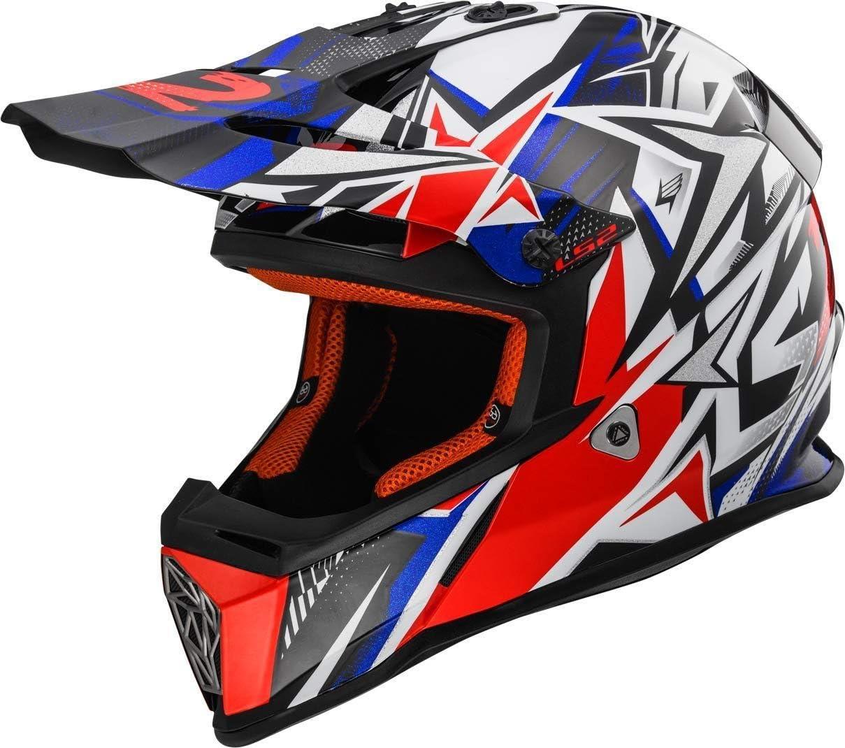 blanc//bleu//rouge LS2/Casque moto mx437/Fast STRONG XXS