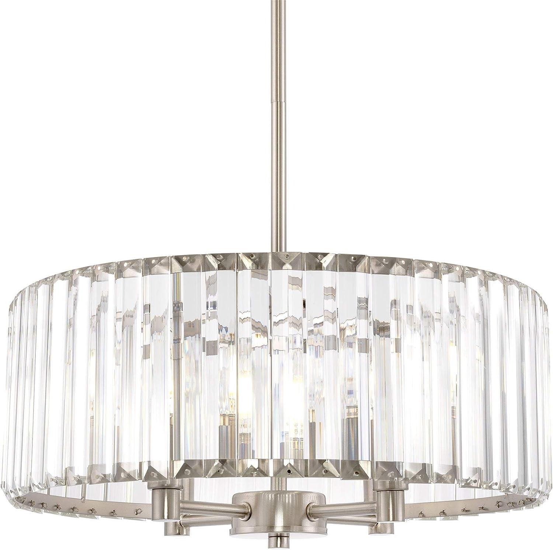 Kira Home Delilah 16 Modern 4 Light Crystal Drum Chandelier Clear Beveled Glass Panels Brushed Nickel Finish Amazon Com