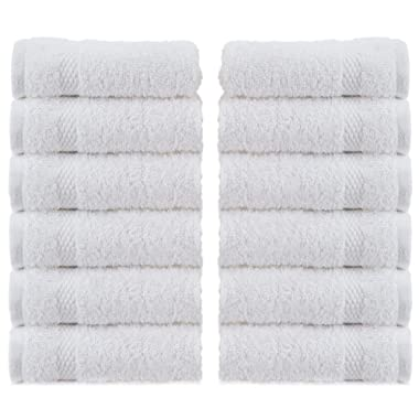 WhiteClassic Luxury Cotton Washcloths - Large Hotel Spa Bathroom Face Towel | 12 Pack | White