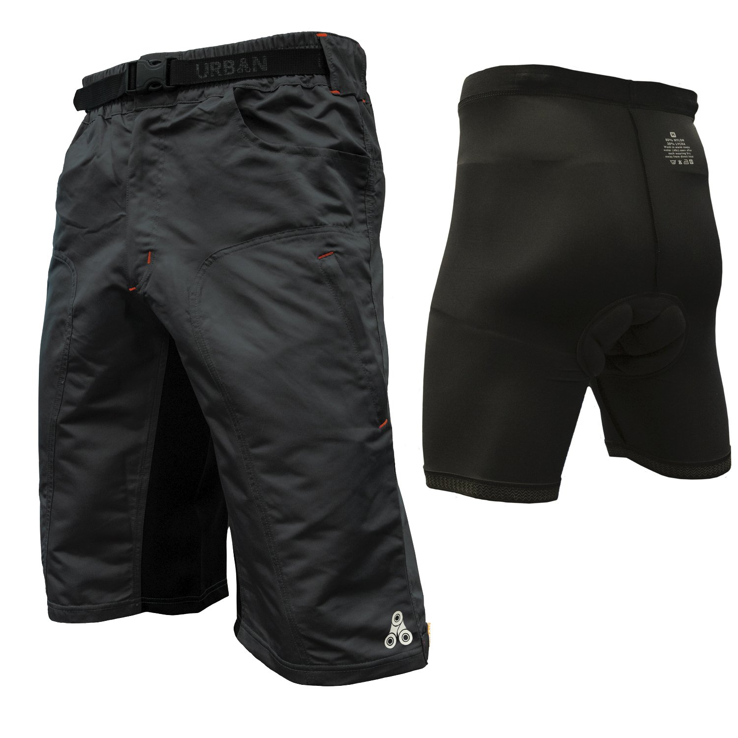 The Enduro - Men's MTB Off Road Cycling Shorts with ClickFast Padded Undershorts with Coolmax Technology (2XL, Black) by Urban Cycling Apparel