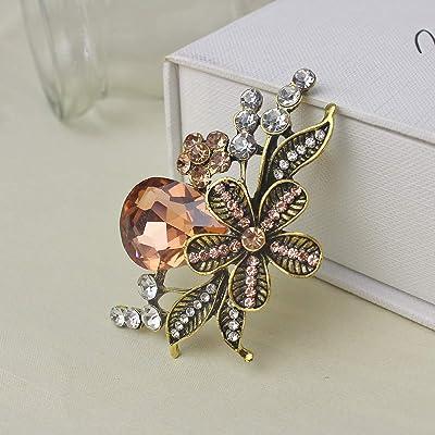 2 flower pin Rhinestone brooch - Brooches Wonderland Flower brooch Floral brooch