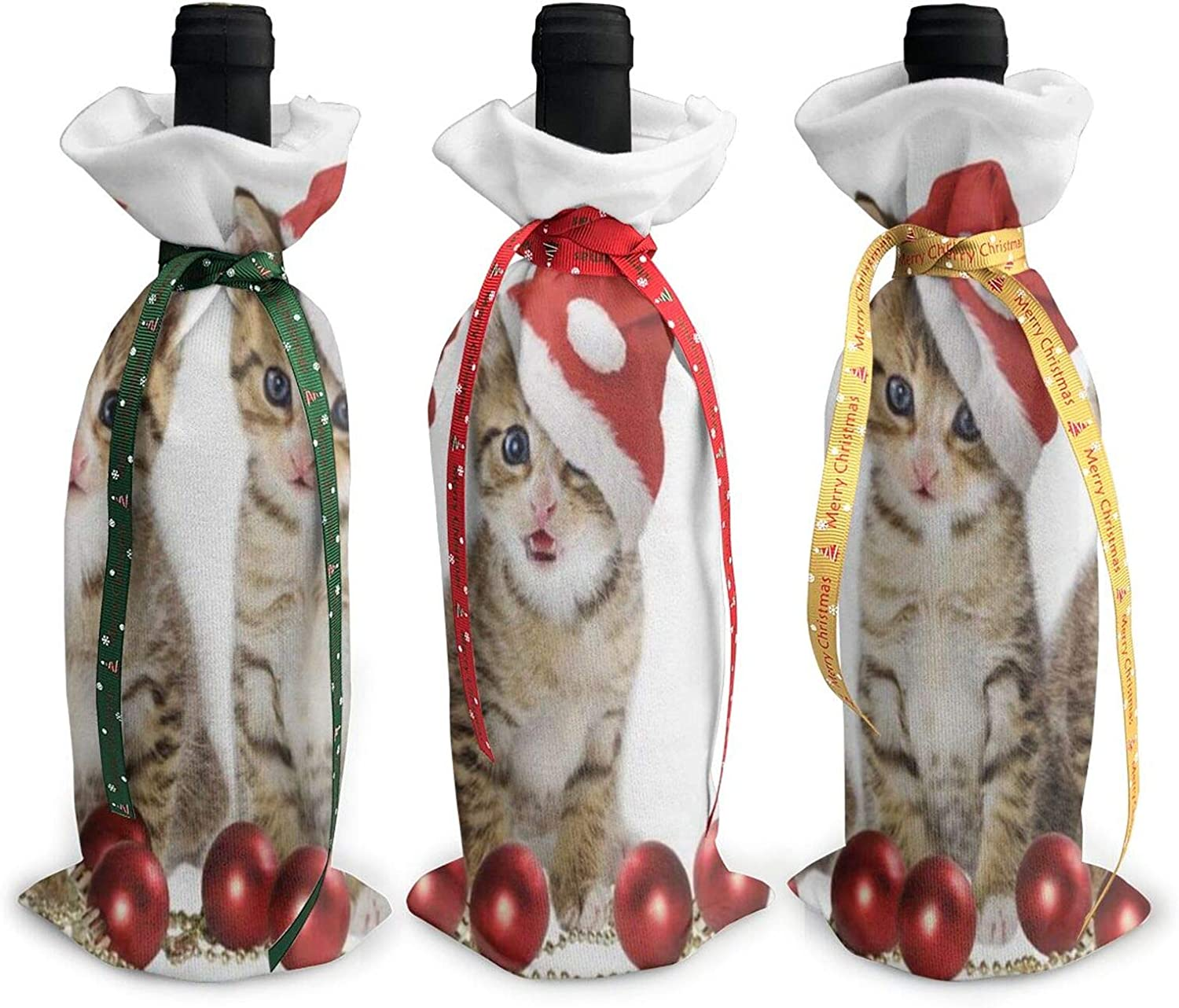 Christmas Wine Bottle Cover Bag Christmas Cat Single Reusable Wine Bottle Dress Wrap Sets 3 Decoration Bag With Ropes Dinner Party Table Decor Christmas Handmade Gift