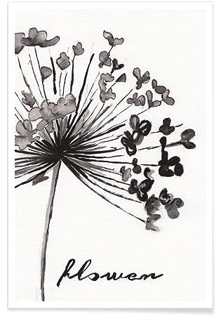 Juniqe Blumen Schwarz Weiss Poster 20x30cm Design Flower