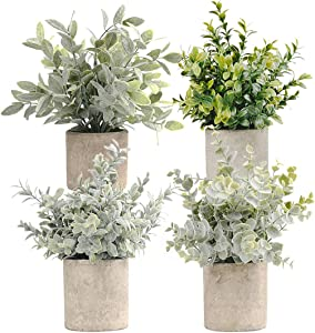 HappyHapi Set of 4 Mini Potted Artificial Eucalyptus Plants Plastic Fake Green Rosemary Plant for Home Decor Office Desk Shower Room Decoration