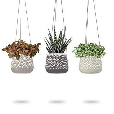 3 Pack Hanging Planter for Indoor Plants | White Concrete Pots | Round Air Succulent Holder Container | Cactus Pot with Rope Hanger | 23 Bees (3, Shades of Nature)