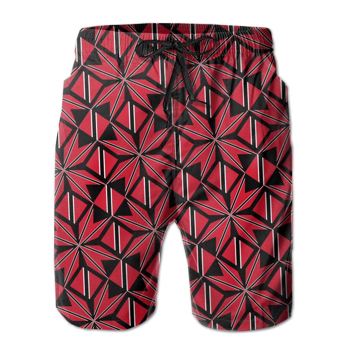 Mens Swim Trunks Trinidad and Tobago Flag Artascope Flower Quick Dry Beach Board Shorts with Mesh Lining