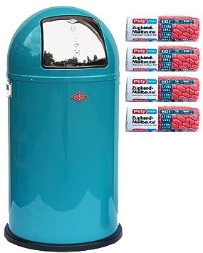Wesco Pushboy - Cubo de basura de 50 litros turquesa + 56 ...