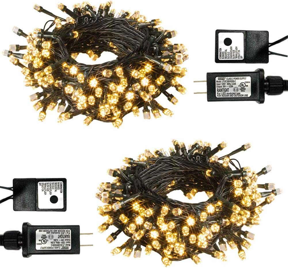 PABIPABI Christmas Outdoor String Lights 2 Pack 82ft 200 LED 9 Modes UL Safe Certified Weatherproof for Christmas Trees, Halloween, Garden, Patio, Wedding, Parties Decor(Warm White)